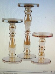 HH Heritage Home 3-Piece Iridescent Glass Candle Holder in Amber