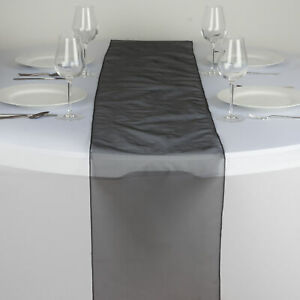 """Black ORGANZA 14x108"""" Table RUNNER Wedding Party Tabletop Decorations SALE"""