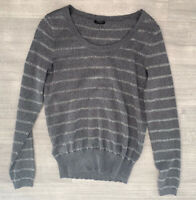 Ann Taylor Grey Stripe Jumper Size M Merino Wool Blend Long Sleeves Round Neck