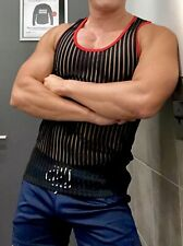 NWOT Mens Muscle Fitted Black Mesh Striped Compression Tank Top M NR
