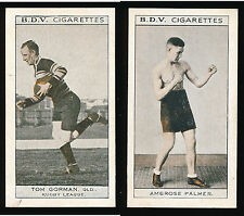 1933 Tom Gorman BDV Cigarette card Ambrose Palmer back Qld Rugby League Boxing r
