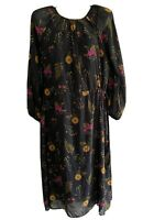 Uniqlo Floral Midi Dress Size XS Sheer Black Long Sleeve