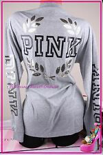 NWT Victorias Secret Varsity Crew PINK Tee Shirt Long Sleeve Sequin Bling Gray S