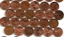 Set of Choice Australia circulated  1  cent coins 1966 to 1990 Incl 1968.
