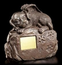 Hunde Urne mit Engel Figur und Gravurplatte - Tierurne