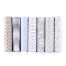 NEW 7 pcs BUNDLE grey COTTON FABRIC/MATERIAL stripe dots Joblot Quilting Crafts
