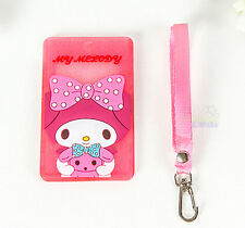 Cute My Melody ID Badge Lanyard Card Holder c/w Strap Travel Work Room Card Case