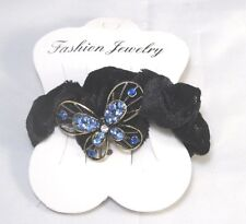 Butterfly Scrunchie Ponytail Holder BLUE Rhinestones Clear center Soft Sparkle
