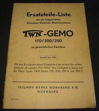 Ersatzteilliste Einkolben Zweitakt Benzin Motoren TWN Gemo 170 / 200 / 250 1956