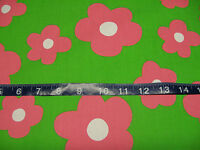 """Pink Flowers on Lime Green 58"""" wide Fabric - 1 yard"""