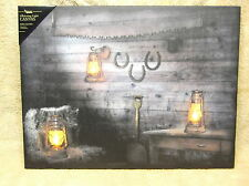 Rusty Lantern Horseshoes Country Lighted Canvas Wall Decor Sign