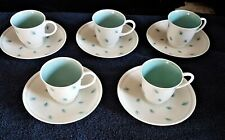 More details for susie cooper coffee cups & saucers set of 5 whispering grass bone china