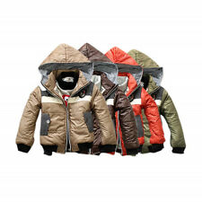 Fashion Winter Outwear Badge Hooded Lined Jacket Coat Kids Boys Clothes Sz 3~7Y