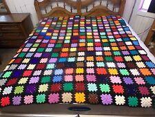 Handmade Crochet Blanket Throw Granny Square Rainbow 81x72 afghan