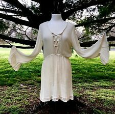 NEW Free People X Jens Pirate Booty ivory Lace Up Bell Sleeve Tunic Dress M/L