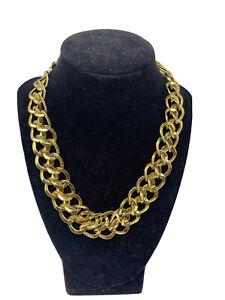 Vintage MONET Chunky Gold Tone Cuban Chain Link Modern Choker Statement Necklace