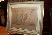 Antique ca1800's Bosio Engraving Hand Colored Framed & Matted Le Collin-Maillard