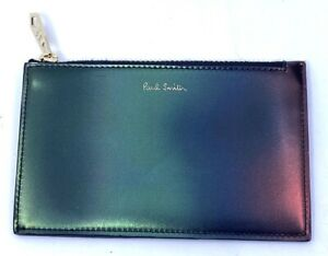 Paul Smith Men's Leather ID Wallet Card Zip Pouch Gradient Beetle Colors New