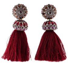 Lanvin Earrings Red Burgundy Pink Crystal Chandelier Tassel Clip On NEW in Box