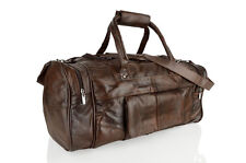 Men's Genuine Real Leather Holdall Travel Cabin Case Sports Duffel Gym Bag Gift