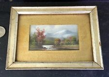 Antique Minature Oil Painting Mountain Landscape With River Framed