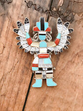 Katchina Brooch Pendant Sterling Silver Turquoise Coral Onyx Inlay Southwestern