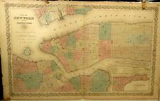 ANTIQUE 1859 ENGRAVING MAP NEW YORK CITY COLTON ATLAS BROOKLYN ROOSEVELT ISLAND