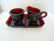 Vintage Avon Cape Cod Ruby Red Glass Sugar Bowl and Creamer with Tray
