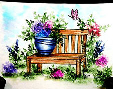 Garden bench only U get #2 photo  L@@k@photo ART IMPRESSIONS RUBBER STAMPS