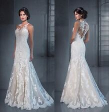 Sleeveless Mermaid Wedding Dresses Sheer Neck Lace Applique Illusion Bridal Gown