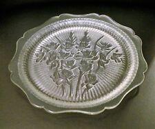 Iris and Herringbone Crystal Depression Glass Luncheon Plate