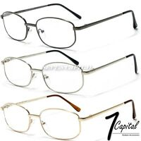 Mens Womens Metal Rectangular Frame Reader Reading Retro Power Lens Glasses 1-3
