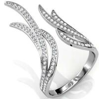 Elegant Clear Crystal 18k White Gold Plated Ring for Women by Matashi - Size 8