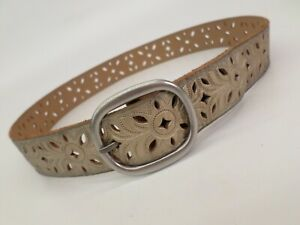 Fossil Leather Belt Small 30 32 Cut Out BT3869040 Antique Gold