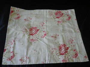 Pottery Barn Hayden STD Pillow Sham Floral Pink Beige Red Cottage Roses Repaired