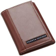 NEW TOMMY HILFIGER PASSCASE CREDIT CARD TRIFOLD ID MEN'S TAN LEATHER WALLET