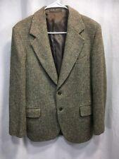 VINTAGE HARRIS TWEED 100% WOOL Blazer Jacket Suit Coat Mens GREEN BROWN RARE TAG