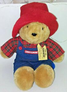 """15"""" Paddington Bear Plush Craftsman Hammer Denim /  Red Plaid"""