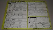 Inspektionsblatt Toyota Starlet EP 70 EP 71 EP 76 Service Blatt Oktober 1985