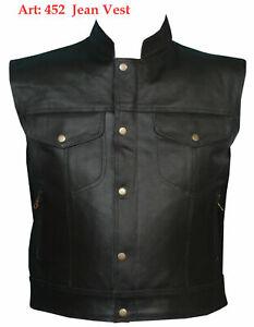 Bikers Classic Leather Vest Son Of Anarchy Vest Motorbike Waistcoat Black Vest