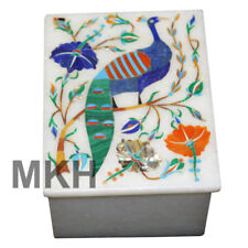 Marble Jewelry Box Peacock Inlay Gem Stones Boxes Pietra Dura Vintage Art Mosaic
