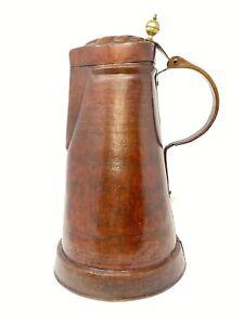 """Antique Hammered Copper Art Nouveau/Jugendstil 18"""" Oil Pitcher"""