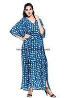 Indigo Blue Indian Kaftan Plus Size Women Dress Caftan Boho Tunic Beach Wear 4X