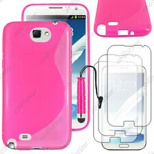 Housse Etui Coque Silicone Rose Samsung Galaxy Note 2 + Mini Stylet + 3 Films