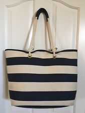 PHASE 3 *CANVAS KNOT ROPE HANDLE* TOTE NAVY BEIGE STRIPE EUC*