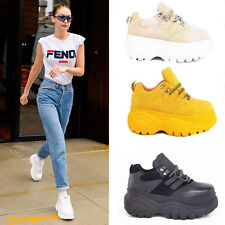 Ladies Lace Up Trainers Chunky Heel High Platform Sneakers Casual Shoes Size 3-8