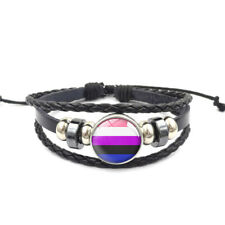 Genderfluid Adjustable Leather & Glass Cabachon Wristband