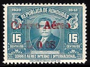 HONDURAS 1942 SCOTT C118b DOUBLE OVERPRINT SIGNED MINT