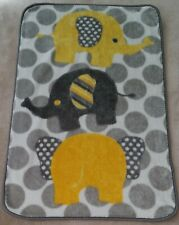 Rn 119741 Gray Yellow Elephants Baby Blanket Lovey Fleece Soft Polka Dots White