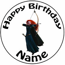 "Personalised Happy Birthday Brave Merida Round 8"" Easy Precut Icing Cake Topper"